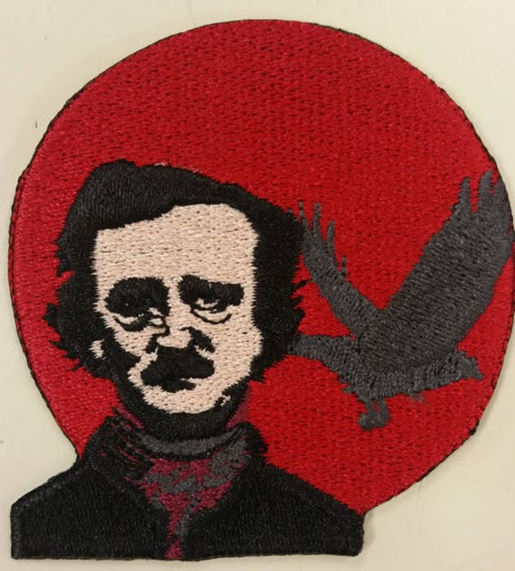Poe Raven Embroidered Patch, Edgar Allan Poe Iron On Patch, American Writer Patch, Literature Great Embroidered Patch. Raven Patch