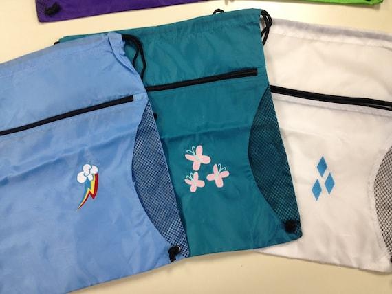 Pony Drawstring Bag Cutie Marks, Cartoon Pony Cinch Bag, Cartoon Ponies Cutie Mark Bag for Fans, Embroidered Drawstring Kid's Bags