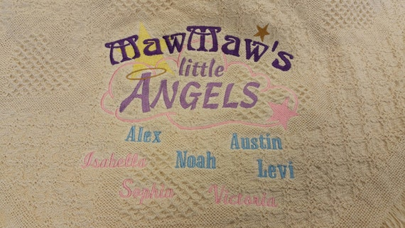 MawMaw's Little Angels Personalized Afghan, Embroidered Throw Celebrating Grandmother, Personalized Gift for Grandparent, Keepsake Blanket