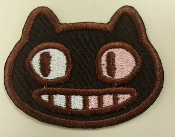 Cartoon cat embroidered patch with Iron On Backing, Cookie Character Patch, Fun Cat Patch