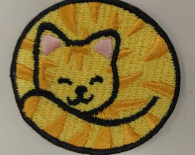 Small Tabby Cat Patch, Embroidered Iron On Cat Patch