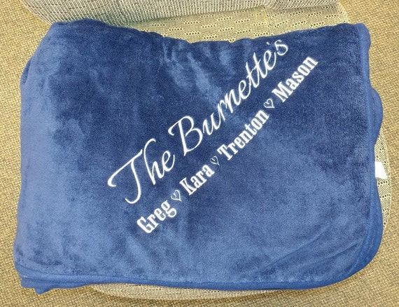 Family Name Embroidered on Plush Blanket, Christmas Gift Family Blanket