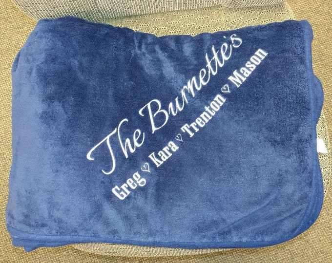 Family Name Embroidered on Plush Blanket, Embroidered Gift Family Blanket
