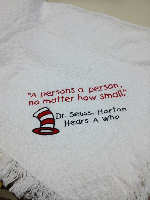 Literary Great Nursery Blanket, Children's Afghan, Childrens Author Quotes, Top Hat Cartoon Cat, Baby Throw, Baby Shower Gift