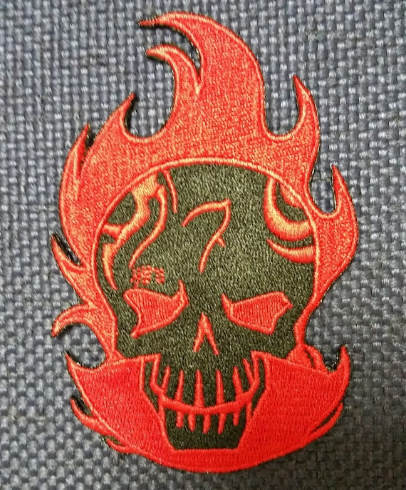 Comic Book Movie Antihero Patch, Embroidered Skull Patch, Character Patch, Fire Skull Patch