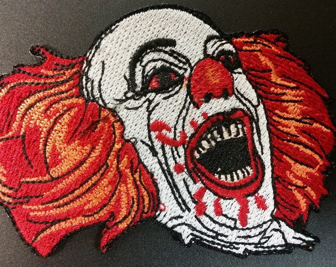 Scary Clown Embroidered Patch,  Movie Icon Iron On Patch, Horror Movie Patch