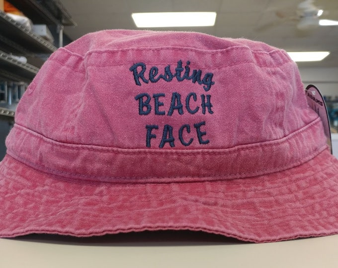 Resting Beach Face Embroidered Sunhat, Embroidered Beach Hat