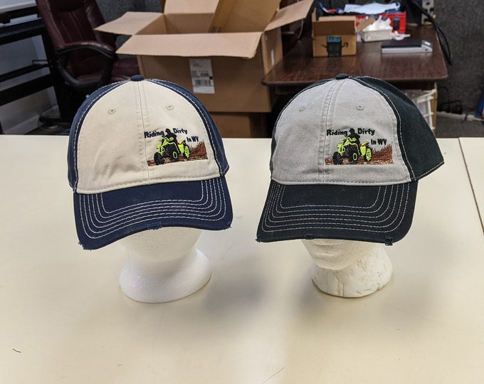 Four Wheeling WV embroidered distressed hat