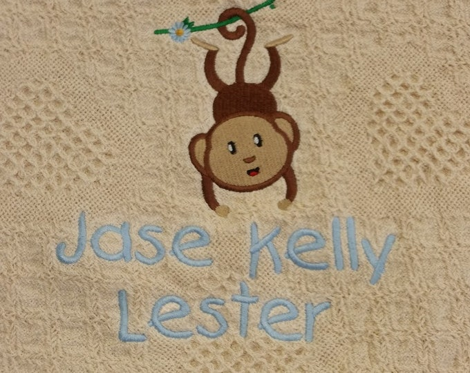 New Baby Shower Gift, Embroidered Monkey Afghan with kids name personalized, Embroidered Baby Shower Gift, New Arrival Gift,  Birthday Throw