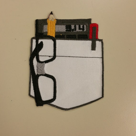 Nerd Pocket Patch, Quick Costume Accessory Patch, Geeks Rule Patch, Embroidered Nerd Pocket Patch with Glasses, Pen, and Calculator