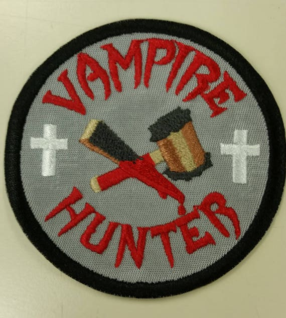 Vampire Hunter Embroidered Patch, Vampire Slayer Iron On Patch, Horror Patch, Bloody Vampire Patch, Vampire Killer Patch, Demonslayer Patch
