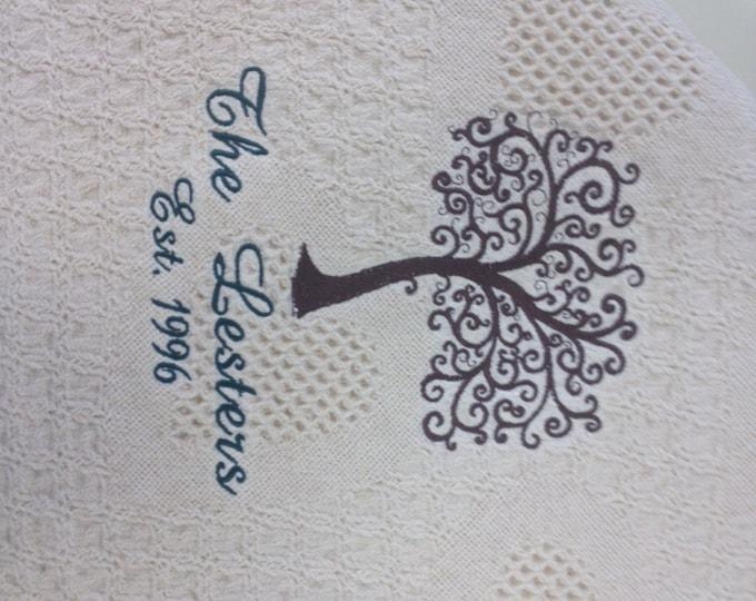 Embroidered Family Name Keepsake Afghan
