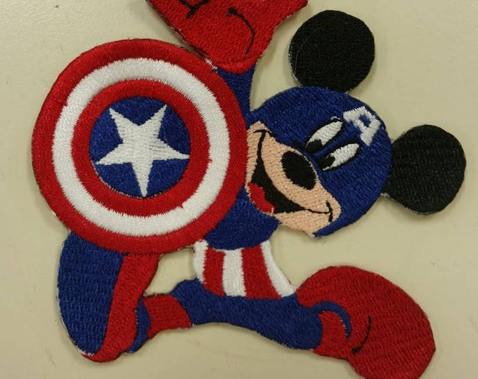 Captain Mouse Embroidered Patch,  America Mouse Embroidered Patch, Superhero Mouse Iron On Patch