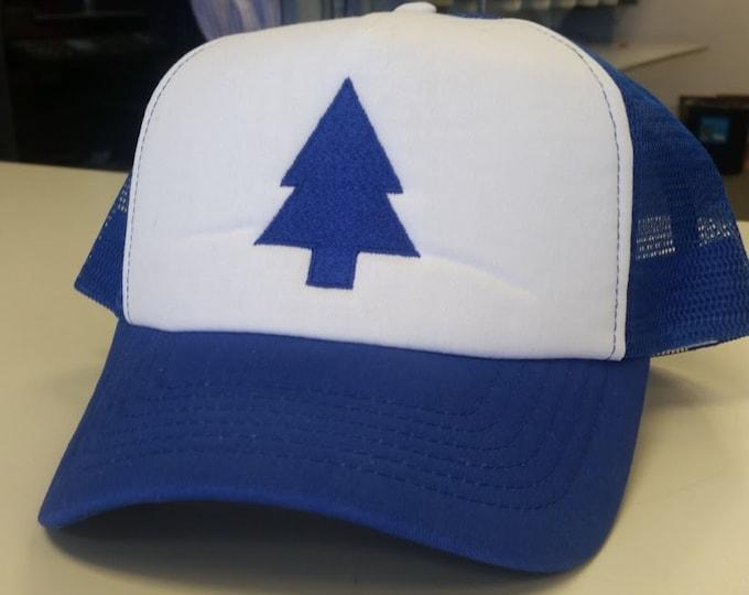 Embroidered Pine Tree Trucker Hat Cartoon Character, Cosplay Trucker Hat