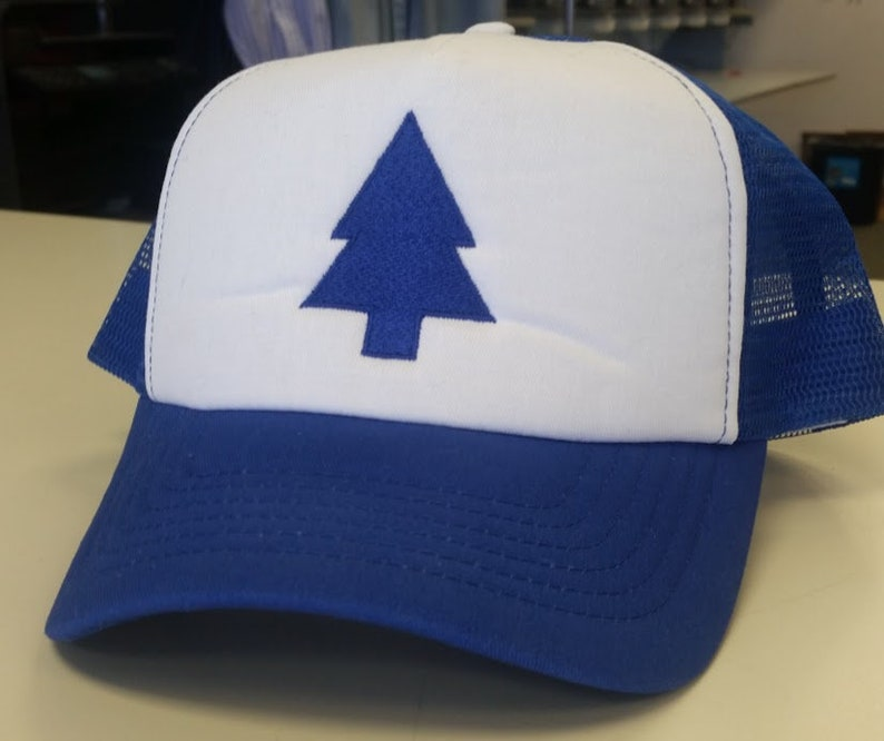 a43efa795 Embroidered Pine Tree Trucker Hat Cartoon Character, Cosplay Trucker Hat