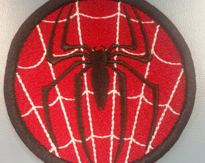 Spider Hero Embroidered patch with Iron on Backing,   Superhero Patch