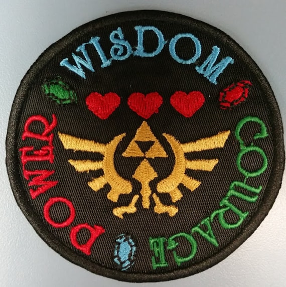 Wisdom Power Courage Embroidered Patch, Gamers Iron On Patch
