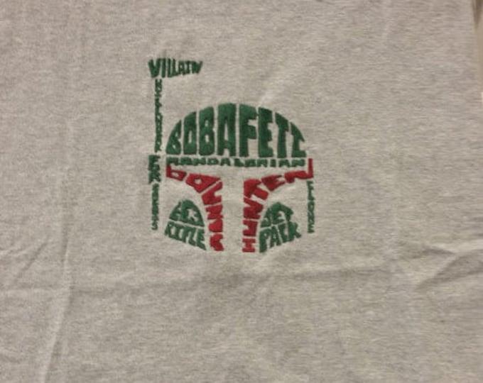 Bounty Hunter Text Art Embroidered Tee Shirt, Text Art T-Shirt, Embroidered Sci Fi Fantasy Tee, Space Movie T-shirt