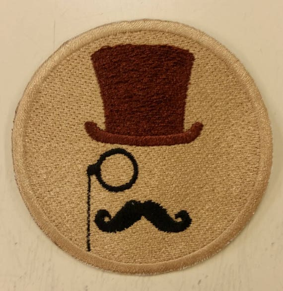 Swanky Hipster Patch, Man with mustache and TopHat Patch, Mocha colored Hipster Embroidered Patch, Mustache Iron On Patch