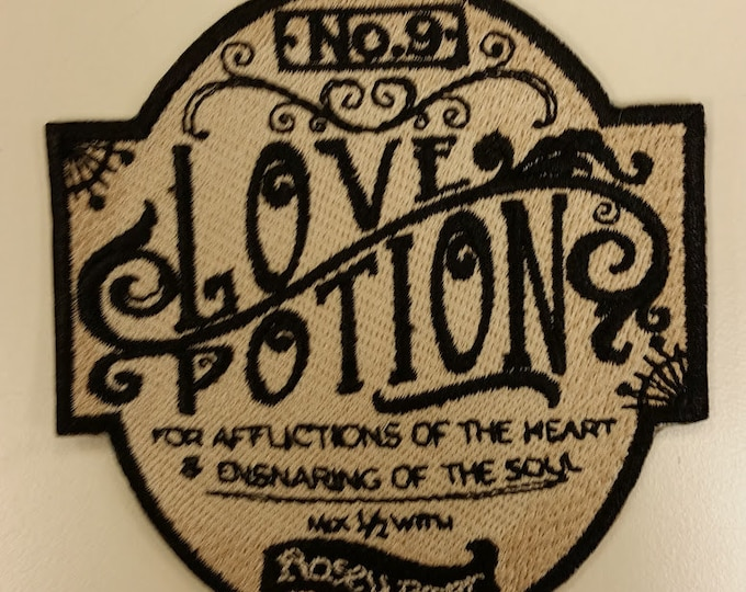 Love Potion No. 9 Embroidered Patch, Apothecary Iron On Patch, Potions Patch, Valentine's Day Patch