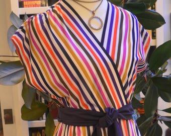 Vintage 1960s Lady Carol striped secretary wrap dress M medium
