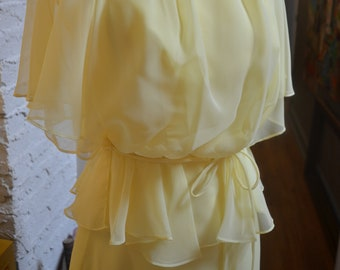 Vintage 1970s yellow blouson cold shoulder maxi dress peplum XS extra small formal summer spring