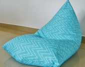 Outdoor Bean bag cover WATERPROOF Aqua Turquoise Light Blue, Chevron, Zig Zag, UV Mould Mildew Fade Resistant, Large size