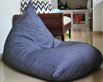100/% COTTON Handloom Large BEAN BAG chair cover Red /& Grey with White Stripes