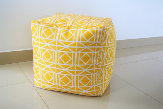 Astonishing Waterproof Outdoor Pouf Ottoman Cover 16 Square Bright Yellow Geometric Lattice Pattern Gmtry Best Dining Table And Chair Ideas Images Gmtryco