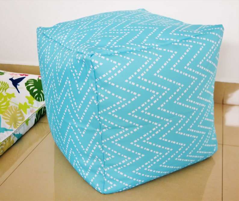 Phenomenal Waterproof Outdoor Pouf Ottoman Cover 16 Square Aqua Turquoise Light Blue Chevron Zig Zag Pattern Coastal Decor Gmtry Best Dining Table And Chair Ideas Images Gmtryco