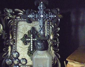 Crystal Cross Bottle ** Religious Art ** Soldered Bottle Art ** Altered Bottle ** Bottle Art ** Cross Bottles ** Bridal/Wedding Gift