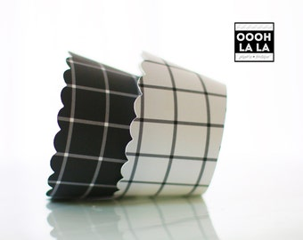 MADE TO ORDER Windowpane Plaid/Check Cupcake Wrappers- Set of 12