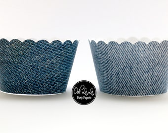MADE TO ORDER Denim-style Cupcake Wrappers- Set of 12