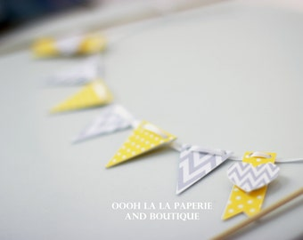 MADE TO ORDER Grey and Yellow Cake Bunting/Banner with option to personalize