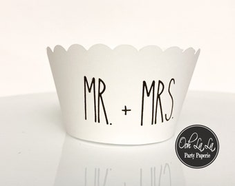 MADE TO ORDER Mr. + Mrs. Rae Dunn inspired Cupcake Wrappers- Set of 12
