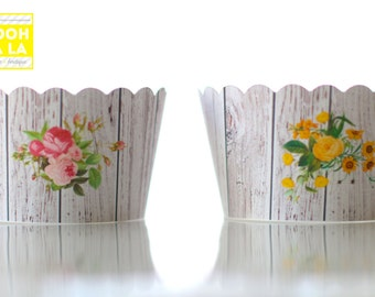 MADE TO ORDER Rustic Floral Cupcake Wrappers- Set of 12