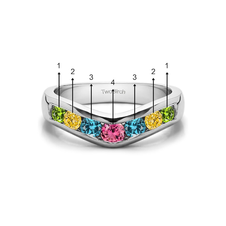 Genuine Birthstone Traditional Style Contour Wedding Band Set in Sterling Silver .42ctw