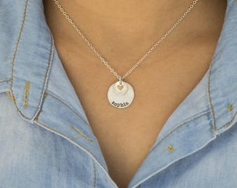 Puffed Heart Personalized Necklace - Sterling Silver