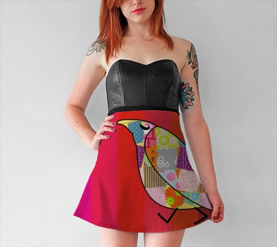ONLY LADIES RED ABSTRACT PRINT SKATER SKIRT XMAS OFFER £3