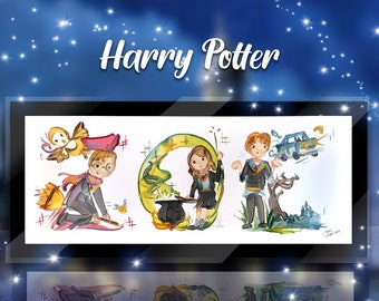 Custom Harry Potter Name Painting - Hermione, Ron, Dumbledore, Luna, Draco, Snape. Gryffindor, Ravenclaw, Hufflepuff, Slytherin