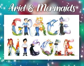Ariel Disney Mermaid Name Painting | Name Art | Letter Art | Name Letters