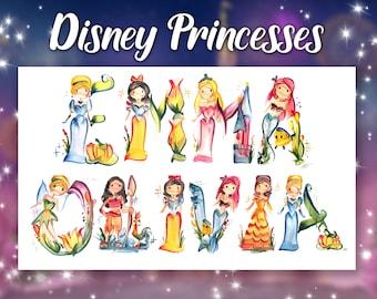 Disney Princess Name Painting | Name Art | Letter Art | Name Letters
