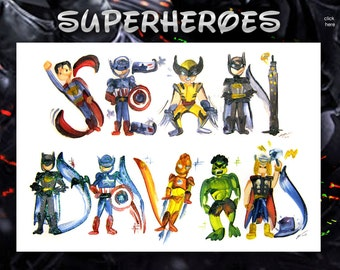 Custom Marvel Name Painting, Disney name art, letter, Disney letters, Avengers, Marvel painting, drawing, Guardians of the Galaxy, Avengers