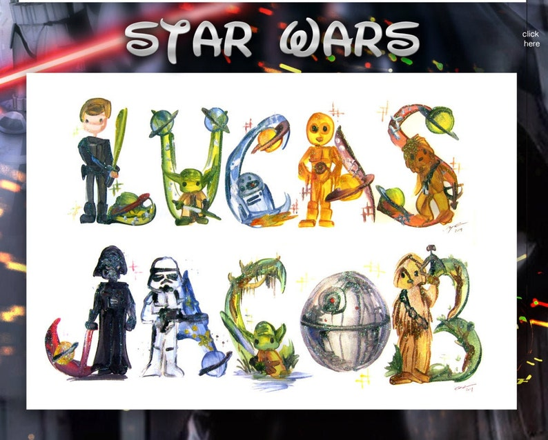 Star Wars Name Painting  Name Art Princess Leia Luke image 0