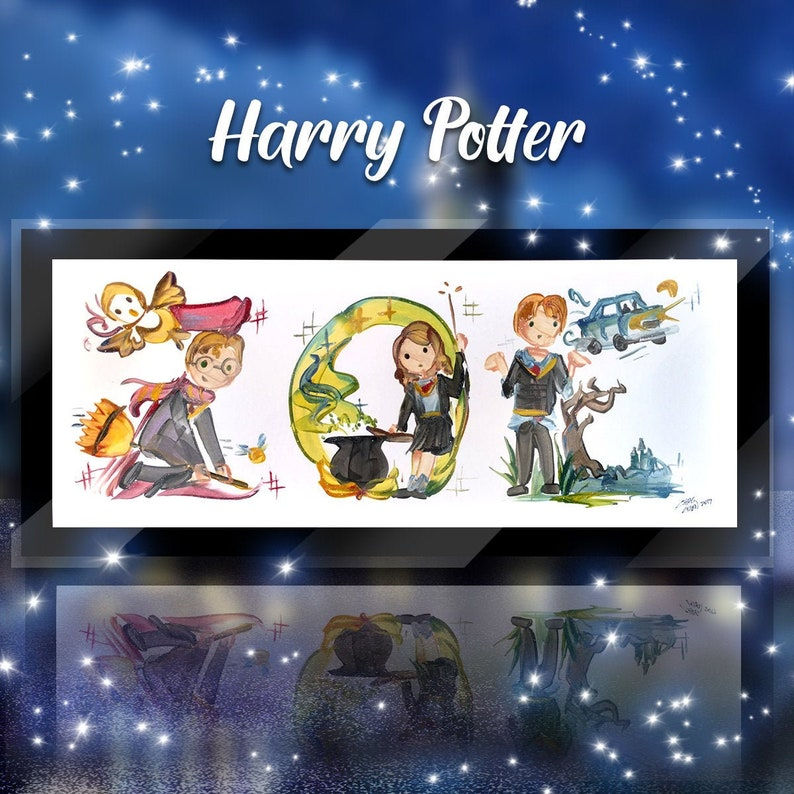 Custom Harry Potter Name Painting  Hermione Ron Dumbledore image 0