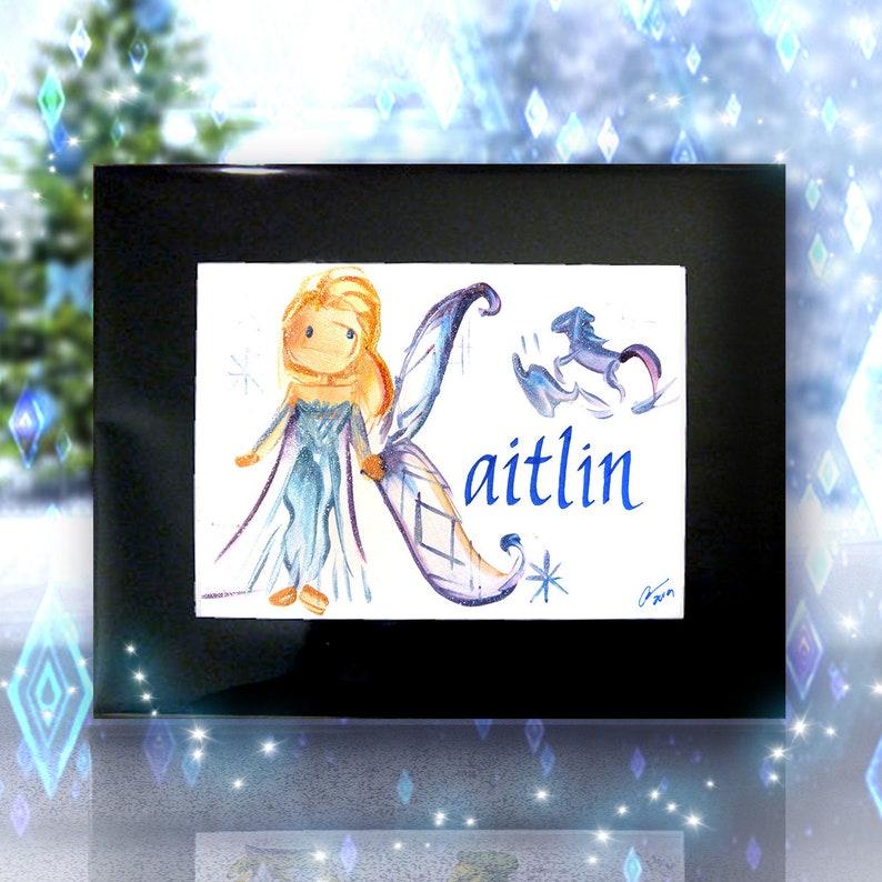Frozen 5x7 Personalized Name Painting  Elsa Anna Kristoff  Elsa