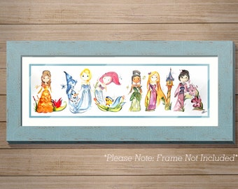 Custom Name Painting, Painted name letters, letter art, Disney name art, Frozen Painting, Name prints, Kids, Baby, Princess letters,