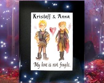 Frozen 5x7 Personalized Name Painting - Elsa, Anna, Kristoff | Name Art