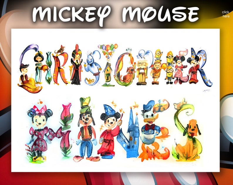 Custom Mickey and Friends Name Painting Minnie Goofy Donald image 0