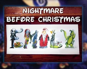 Custom Nightmare Before Christmas Name Painting - Tim Burton, Jack Skellington, Halloween, Sally/ Oogie Boogie / Name Art / Disney /